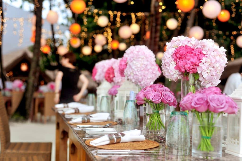 Rosa Tischdeko Fur Die Hochzeit Heiraten Hochzeit
